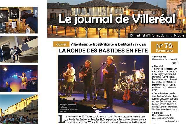 Le Journal de Villeréal met les célébrations du 750e anniversaire de la bastide à l'honneur.|jean-Paul Epinette - icimedia@free.fr