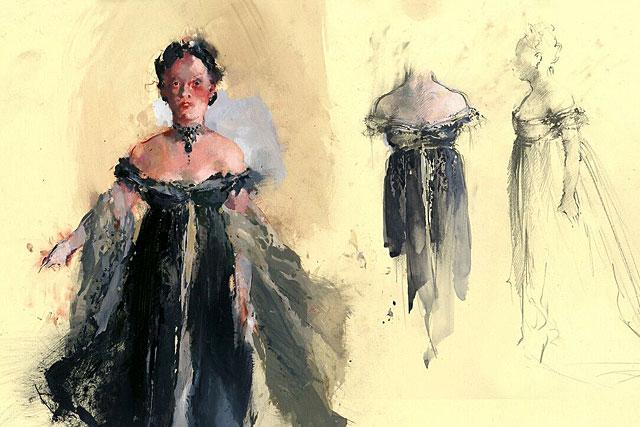 Un carton du costume de Tosca par John Macfarlane également auteur des décors...|Photo DR