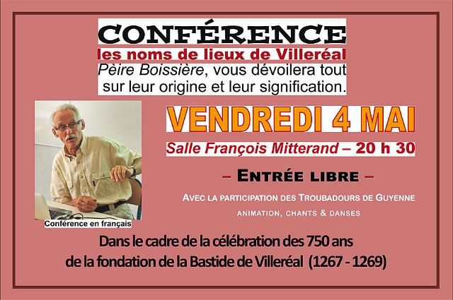 Les noms de lieu de la commune de Villeréal, une conférence de Pèire Boissière;;;|-|Photo © jean-Paul Epinette - icimedia@free.fr