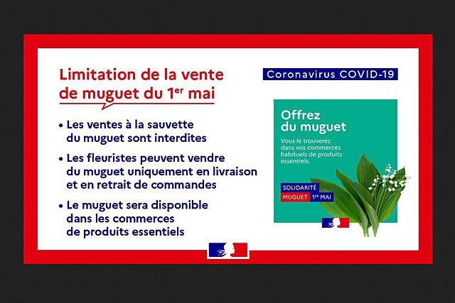 Les fleuristes pourront vendre du muguet uniquement en livraison ou en retrait de commandes...|Illustration Gouvernement français
