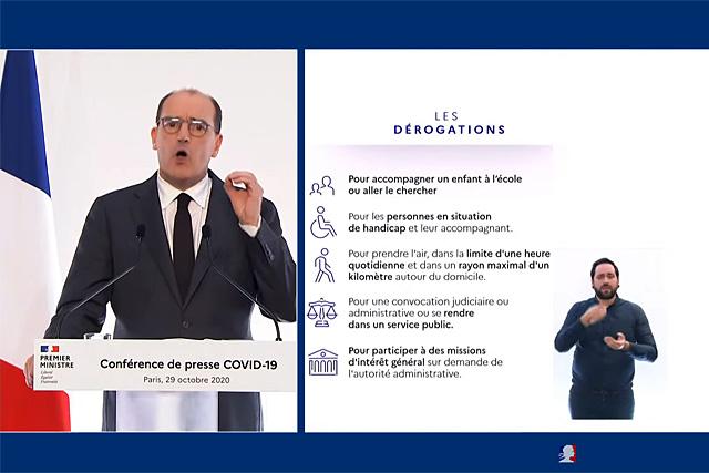 Le premier ministre a précisé le cadre réglementaire de ce second confinement... Capture et montage © Jean-Paul Epinette