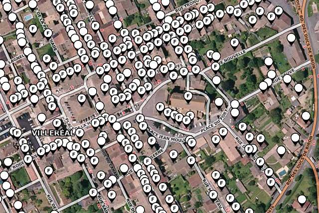 Chaque point de la bastide marqué [F] est en mesure d'être raccordé au réseau...|Illustration DR.